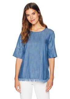 Jones New York Women's 3/4 Sleeve Fringe Chambray Top Light Indigo wash XS