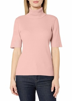 Jones New York Women's 3/4 Sleeve Mixed Rib Turtle Neck Shirt