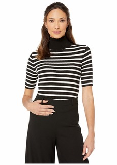 Jones New York Women's 3/4 Sleeve Mixed Rib Turtle Neck Top