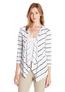 Jones New York Women's 3/4 Sleeve Open Cardigan Sweater