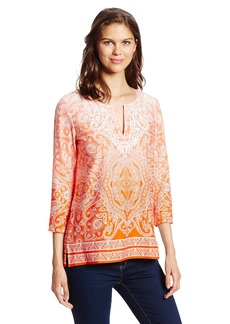 Jones New York Women's 3/4 Sleeve Tunic M.Orange/Cool Coral