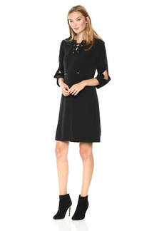 Jones New York Women's 3/4 Slit Sleeve New Lace up Shirt Dress