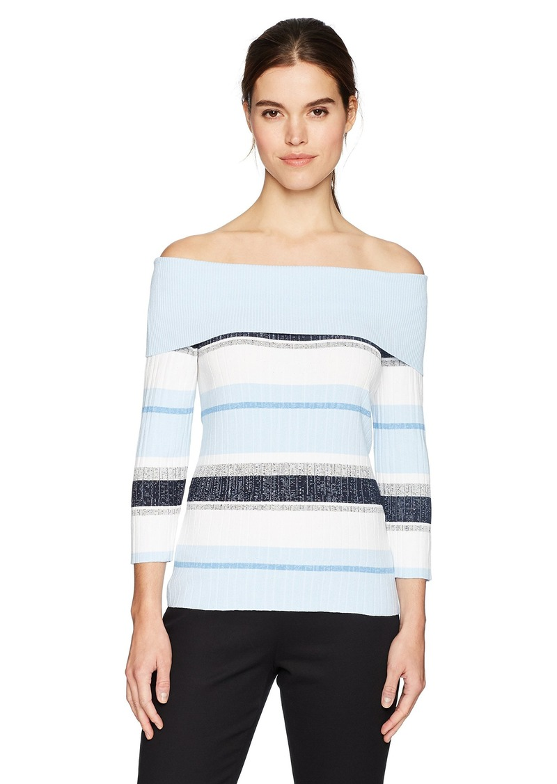 Jones New York Women's 3/4 SLV Off The Shoulder Pullover  M