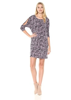 Jones New York Women's 3/4 SLV Print Cold Should Dolman Shift Dress Regal Combo dots XL