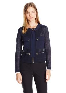Jones New York Women's 4 Pocket Jacket With Snap Detail