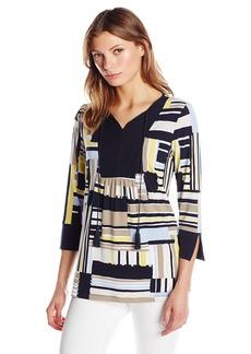 Jones New York Women's Allover Stripe 3/4 Slv Tunic  M