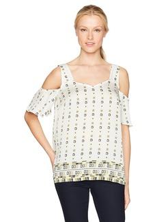 Jones New York Women's Allover Tile PRT Cold Shoulder V-Neck  L
