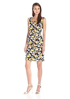 Jones New York Women's Belted Printed Sheath Dress