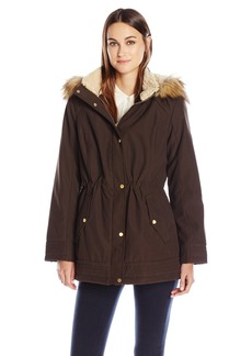 Jones New York Women's Bonded Poly Parka with Feather Touch Fill  S