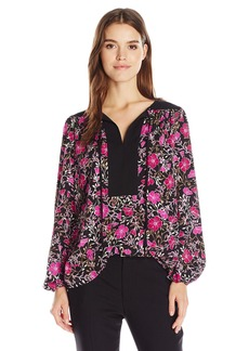 Jones New York Women's Botanical Print Peasant Top  M
