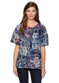 Jones New York Women's Bouquet Dream PRT Fltr SLV Peasant Top  XS