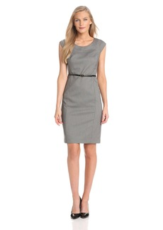 Jones New York Women's Brooke Birdseye Cap Sleeve Dress JBlack/JWhite