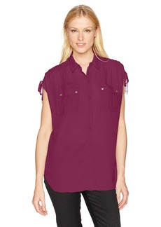 Jones New York Women's Button up Shirt with Cording on Shoulder  L