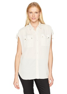 Jones New York Women's Button up Shirt with Cording on Shoulder  M