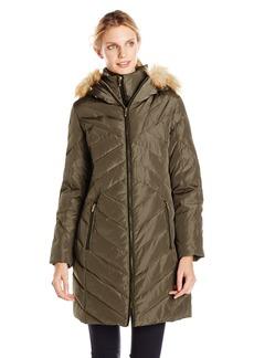 Jones New York Women's Chevron Down Coat with Faux Fur Trim Hood - Update To LY