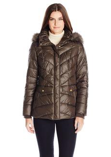 Jones New York Women's Chevron Faux Fur Trimmed Puffer Coat