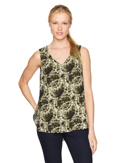 Jones New York Women's Classic Tie Dye PRT V-Neck Top  M
