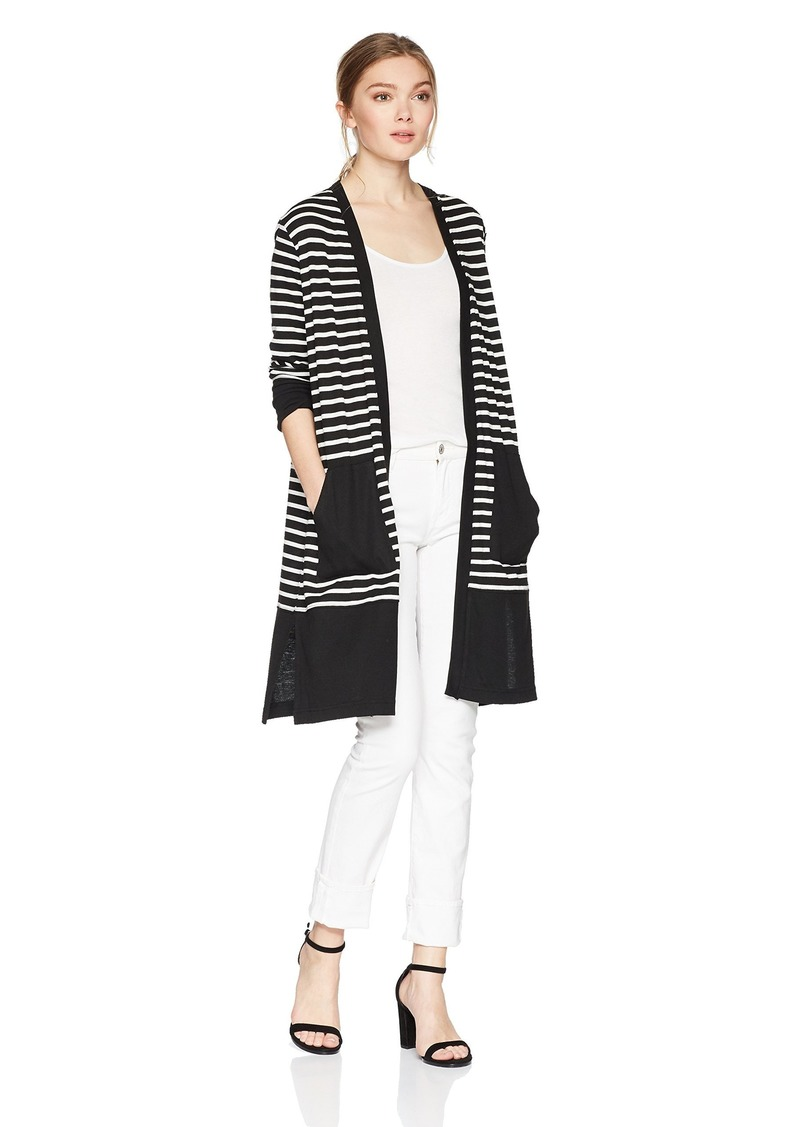 Jones New York Women's Color Blocked Open Front V Cardi  M