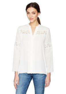 Jones New York Women's Combo Lace Insert Shirt  M