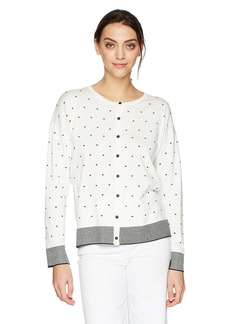 Jones New York Women's Crew NK Button Frontt Cardi With Borders  XL