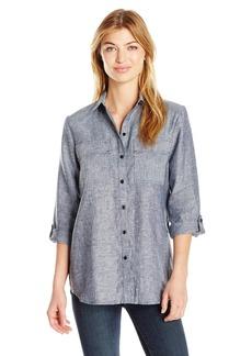Jones New York Women's Crossdye Linen Washed Eqipment Shirt  L