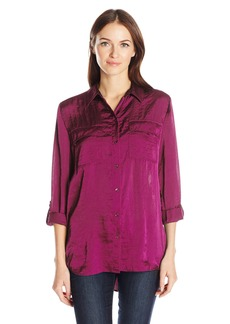 Jones New York Women's Crushed Satin Equipment Shirt  S