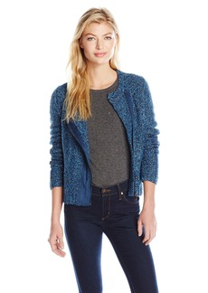 Jones New York Women's Curly Boucle Asymmetric Zip Front Cardigan