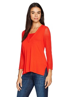 Jones New York Women's Deep V-Nk with Overlap at Cf High Low Tunic  M