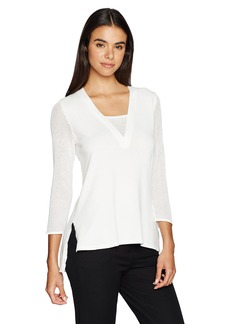 Jones New York Women's Deep V-NK With Overlap At CF High Low Tunic  XL