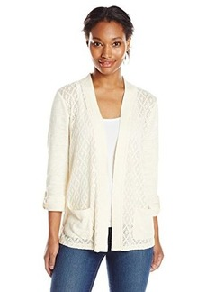 Jones New York Women's Diamond Lace Front Cardigan with Pocket