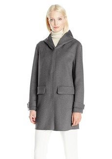 JONES NEW YORK Women's Double Face Attached Hooded Coat with Hidden Snap Front Closures  L