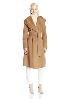 JONES NEW YORK Women's Double Face Shawl Collared Removable Belt Wrap Coat With Snap Front Closure  L