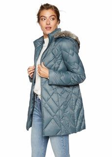 Jones New York Womens Down Coat with Cozy-Trimmed Hood Black S