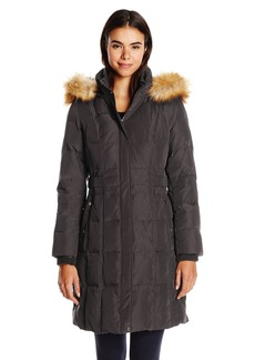 Jones New York Women's Down Coat with Side Detail and Faux Fur Trim Hood
