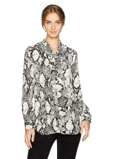 Jones New York Women's Drop Shoulder Blouse with Self Tie  S