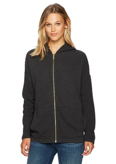 Jones New York Women's Drop Shoulder Wedge Zip Front Hoodie  L