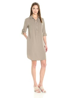 Jones New York Women's Elbow Sleeve Lace up Front No Waist Shirt Dress