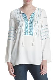 Jones New York Women's Embroidered Peasant Top  XS