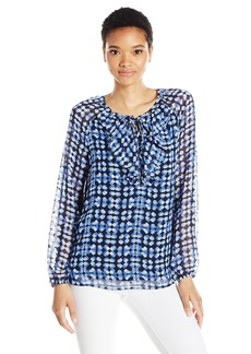 Jones New York Women's Etched Dots Print Ruffle Peasant Top  S