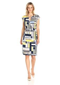 Jones New York Women's Extend Sleeve PRNT Blouson Drape Lemon  M