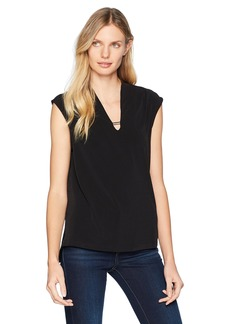 Jones New York Women's Extend SLV Easy V-Nk Blouse  XS