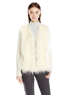Jones New York Women's Faux Fur Front Sweater Cardi ECRU