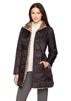 Jones New York Women's Faux Fur Reversible to Down Coat  L