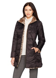 Jones New York Women's Faux Fur Reversible To Down Coat  M