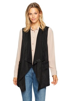 Jones New York Women's Faux Suede Draped Collar Vest  L