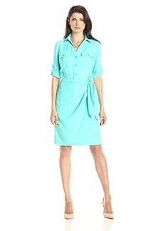 Jones New York Women's Faux Wrap Shirt Dress