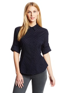 Jones New York Women's Fitted Roll Elbow Sleeve Solid Shirt