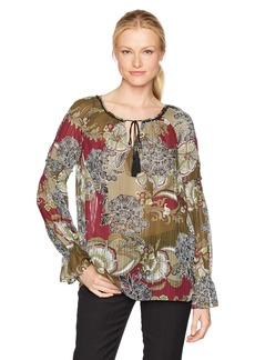 Jones New York Women's Floral Garden PRT Smock SLV Peasant Top  S