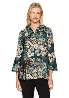 Jones New York Women's Flounce L/SLV Top W/FRNT BTN Plkt  S