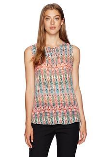Jones New York Women's Folk Ikat Print Slvlss Embellished Top  XL